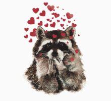 Cute Watercolor Raccoon Blowing Kisses & Hearts Baby Tee