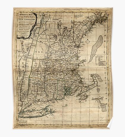 American Revolutionary War Era Maps 1750-1786 343 Bowles's map of the seat of war in New England Comprehending the provinces of Massachusets Bay and New Poster