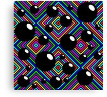 Black shiny balls and colored diamonds. Canvas Print