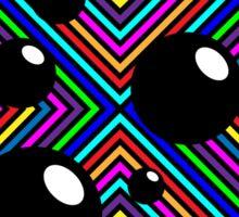 Black shiny balls and colored diamonds. Sticker