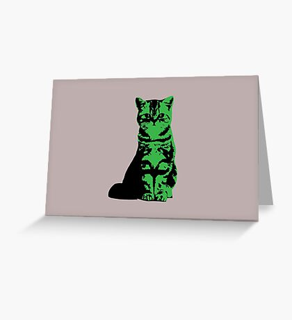 Kitty Cat (Green) Greeting Card