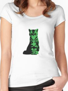 Kitty Cat (Green) Women's Fitted Scoop T-Shirt