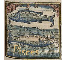 Pisces Woodcut Photographic Print