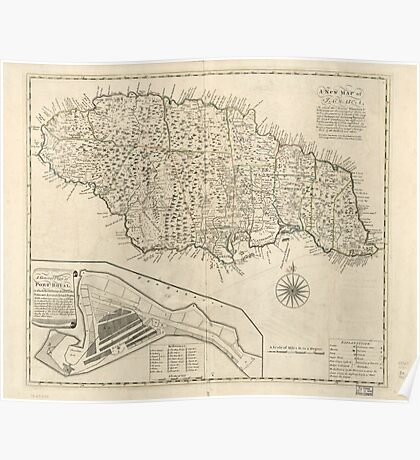 American Revolutionary War Era Maps 1750-1786 166 A new map of Jamaica in which the several towns forts & settlements are accurately laid down as well as the Poster