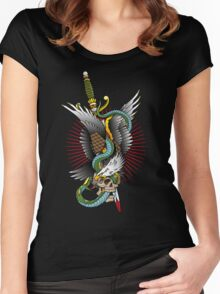 Eagle and snake tatoo design Women's Fitted Scoop T-Shirt