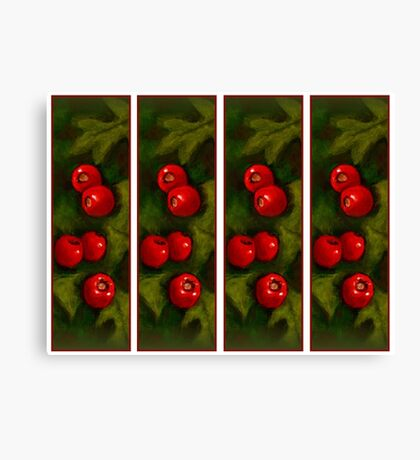 Hawthorn Berries: Red on Green: Pattern: Oil Pastel Art Canvas Print