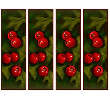 Hawthorn Berries: Red on Green: Pattern: Oil Pastel Art Photographic Print