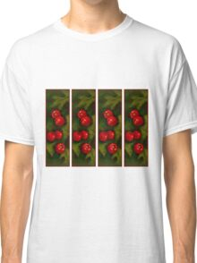 Hawthorn Berries: Red on Green: Pattern: Oil Pastel Art Classic T-Shirt
