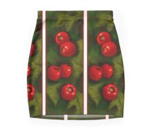 Hawthorn Berries: Red on Green: Pattern: Oil Pastel Art Mini Skirt