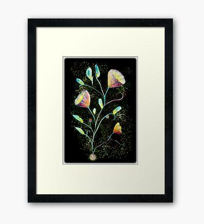 Green flowers in space Framed Print