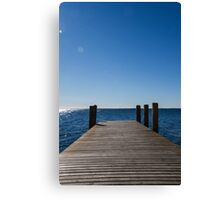 wooden pier on lake Canvas Print