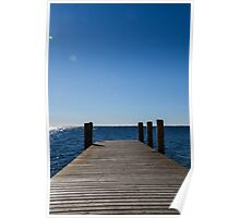 wooden pier on lake Poster
