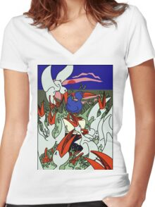 Seagulls in a frenzy Women's Fitted V-Neck T-Shirt