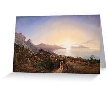 Emil Theodor Richter, An Italian Coastal Landscape at Sunset Greeting Card