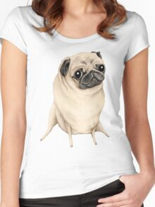 Sweet Fawn Pug Women's Fitted Scoop T-Shirt