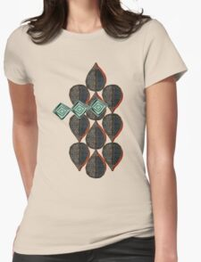 Black Leaves Womens Fitted T-Shirt