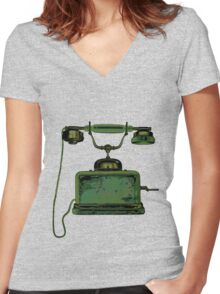 Hanging on the Telephone Women's Fitted V-Neck T-Shirt