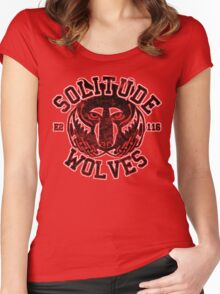 Solitude Wolves - Skyrim - Football Jersey Women's Fitted Scoop T-Shirt