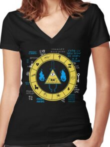 Gravity Falls - Bill Cipher Zodiac Women's Fitted V-Neck T-Shirt