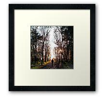 Man Walking Through the Forest Framed Print