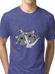 sweet little baby koala cute mamapapa 2 children couple holds family eucalyptus tree itself Tri-blend T-Shirt