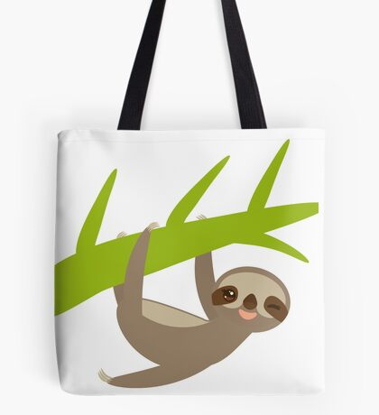 Winking sloth an a bench Tote Bag