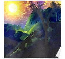 Sunrise with mountains and trees Poster
