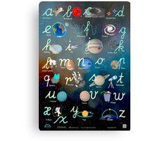 Alex Astronaut ABC Lowercase Handwriting Poster Canvas Print