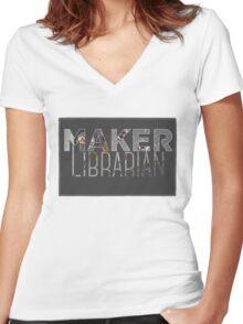 Maker Librarian Women's Fitted V-Neck T-Shirt