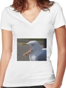 Yawning Seagull Women's Fitted V-Neck T-Shirt