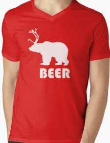 Beer Bear Mens V-Neck T-Shirt