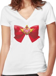 Sailor Moon - Crisis Moon (ribbon edit.) Women's Fitted V-Neck T-Shirt