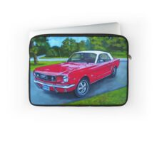 Red Ford Mustang Car: Original Painting, Vintage Car Laptop Sleeve