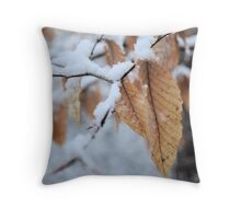 Snowy Leaf Close-up (winter snow scene) Throw Pillow