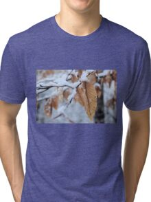 Snowy Leaf Close-up (winter snow scene) Tri-blend T-Shirt