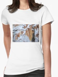 Snowy Leaf Close-up (winter snow scene) Womens Fitted T-Shirt