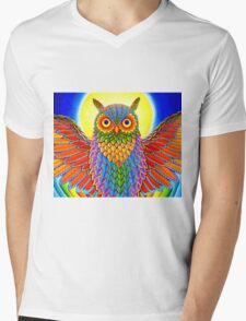 Psychedelic Rainbow Owl Mens V-Neck T-Shirt