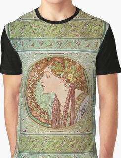 Alphonse Mucha - Laurel  Graphic T-Shirt
