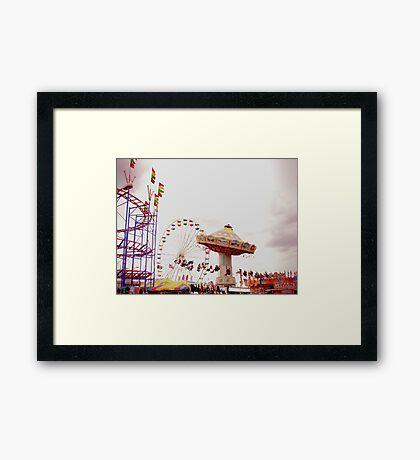 County Fair (Rollercoaster, Ferris Wheel, and High Swing) Framed Print