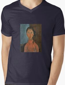 Amedeo Modigliani - Girl With Pigtails Mens V-Neck T-Shirt