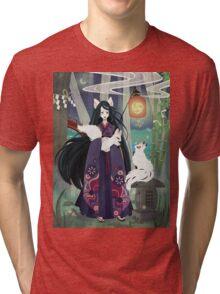 Yokai Japanese Kitsune Tri-blend T-Shirt