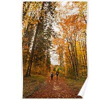 girls trekking in the wood Poster