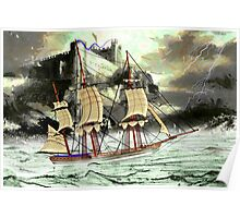 A 19th century Sailing Ship on a Stormy Day at Bambrough Castle Poster