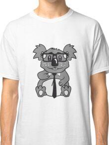 nerd geek nerd ties hornbrille pimple freak sitting nerdy koala Classic T-Shirt