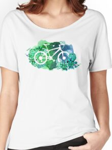 Bicycle with watercolor succulent design Women's Relaxed Fit T-Shirt