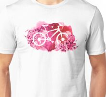 Bicycle with watercolor succulent design Unisex T-Shirt