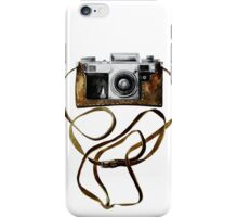Watercolor vintage camera in leather case iPhone Case/Skin