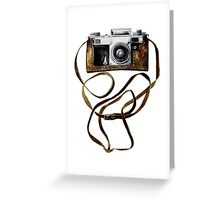 Watercolor vintage camera in leather case Greeting Card