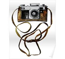 Watercolor vintage camera in leather case Poster