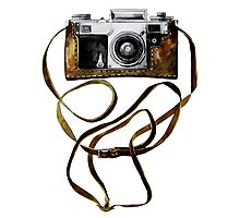 Watercolor vintage camera in leather case Photographic Print